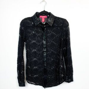 Catherine MaLandrino Long Sleeve Floral Lace Top